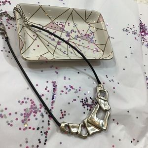 Chico's | Magnetic | Silvertone Leather Necklace